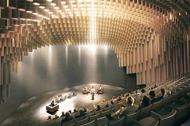 An artist's impression of the Thomas Jefferson Auditorium at Bordeaux's Cité du Vin.