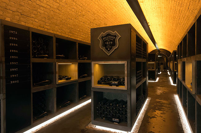 bollinger cellar, champagne library