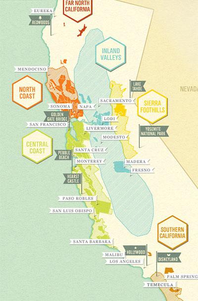 Map of California vineyards