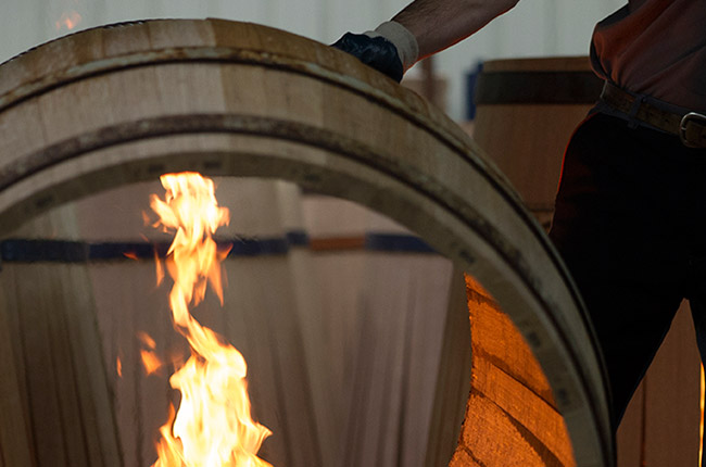 toasting oak barrels