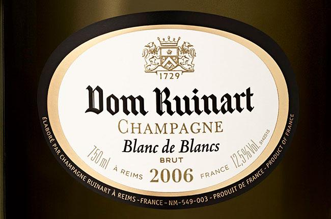 dom ruinart 2006 label, dom ruinart champagne
