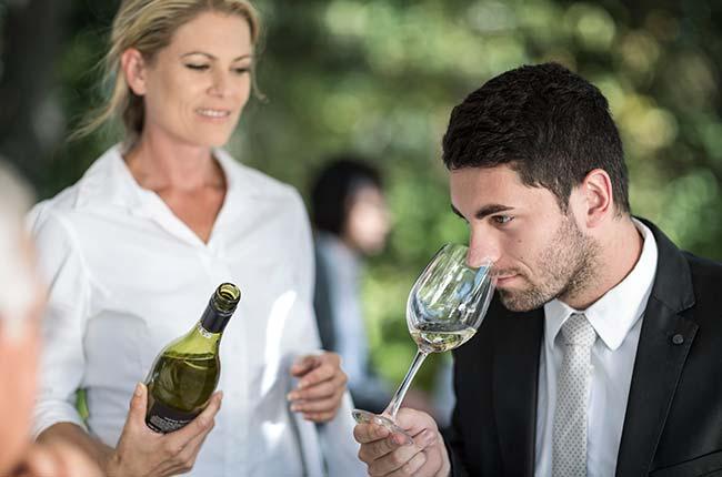 taste wine in a restaurant