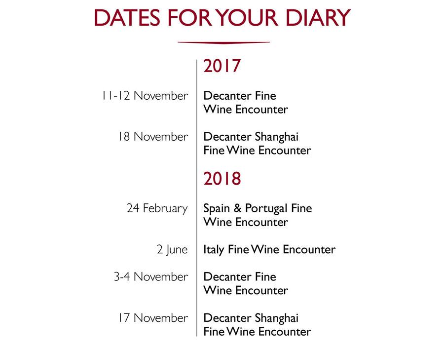 2017/18 Decanter wine tasting event dates