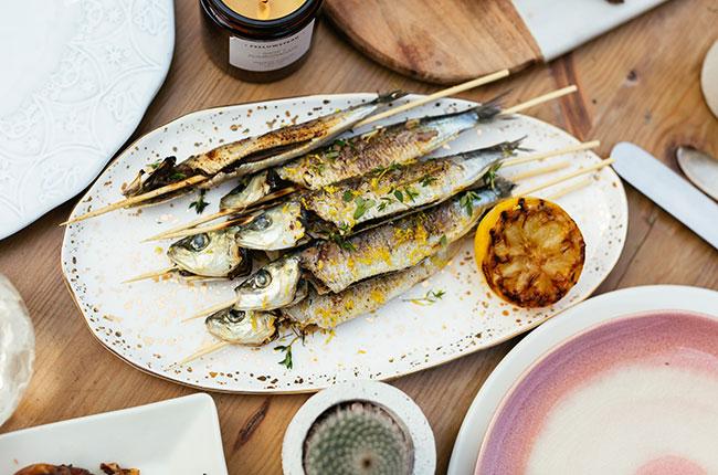 barbecue sardines, wine match