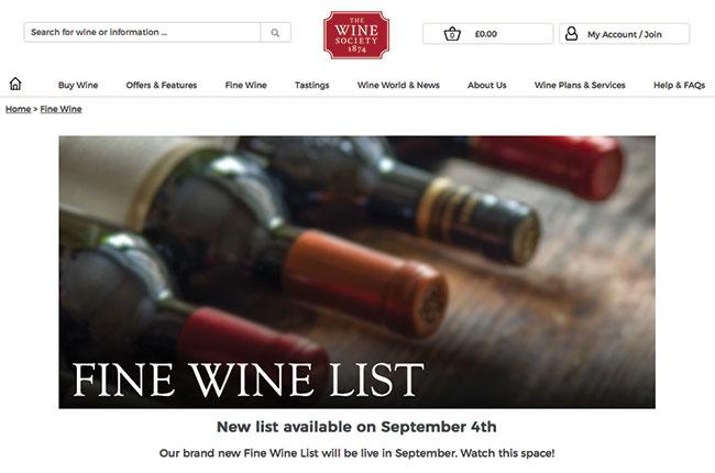 Wine Society website