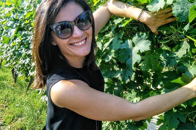 Gaia Gaja in the vineyards.