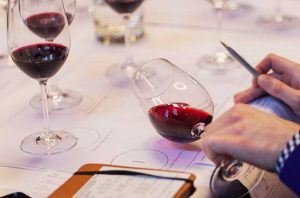 Comparing the colour of wine in a Decanter Masterclass