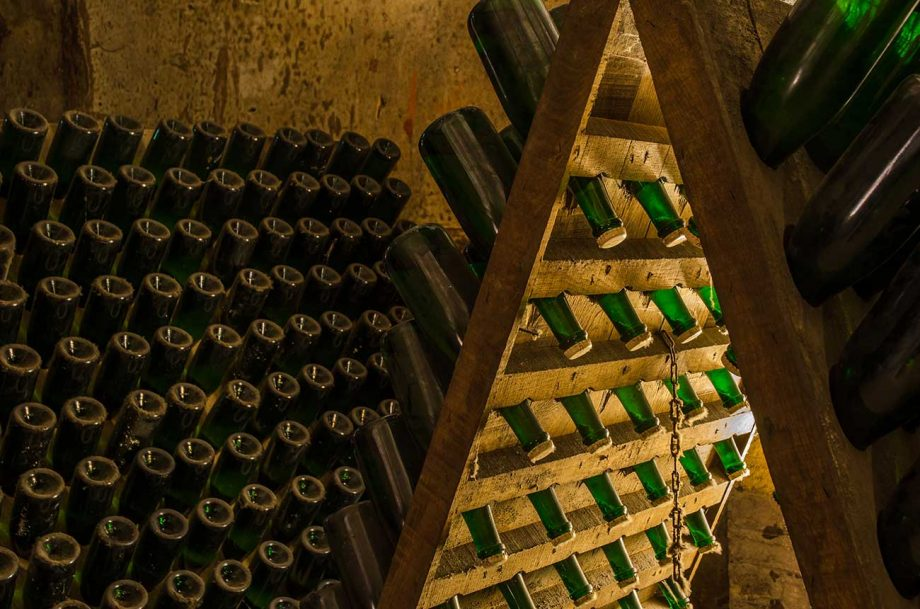 Champagne ageing in cellars in Reims. Leaving lees in contact with the wine helps develop complexity.