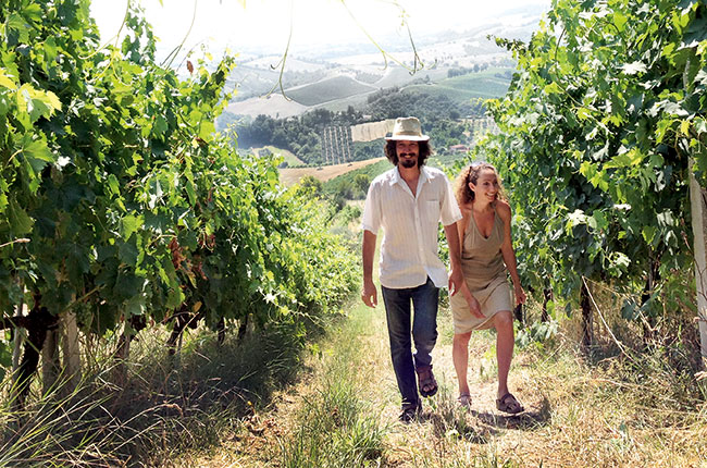Corrado Dottori and wife Valeria, Marche vineyards