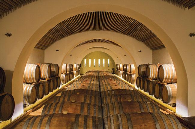 Barrel room at Serracavallo