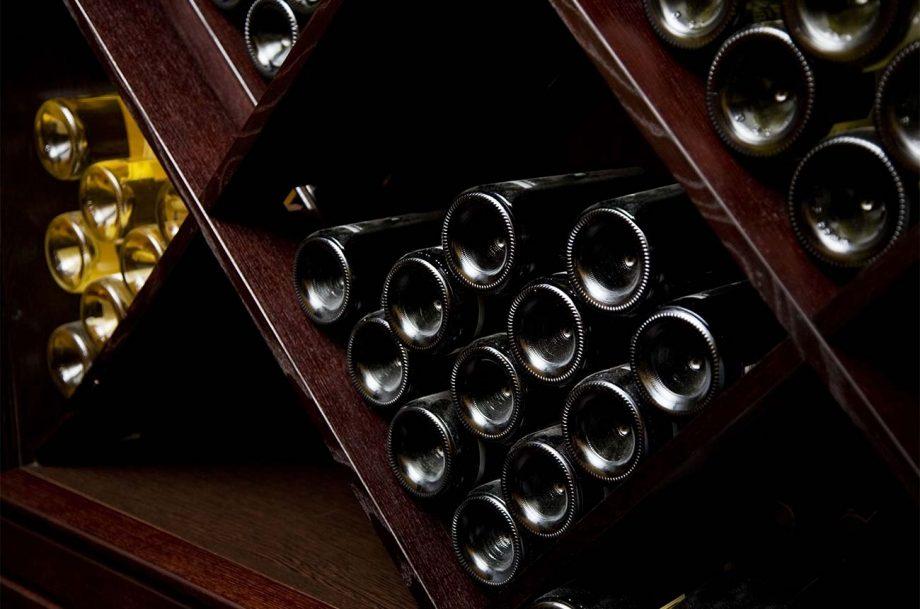 Stored bottles of wine