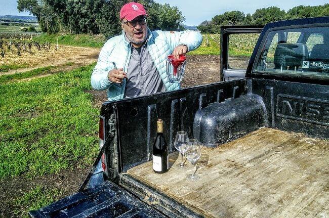 Mounir Saouma in the vineyard.