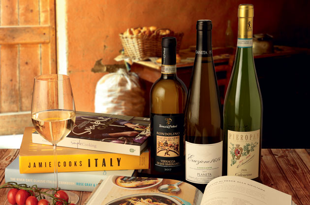 Italy white wine and food