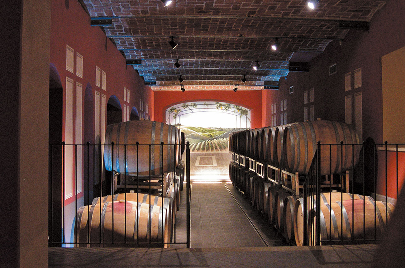 Banfi Piemonte barrel room