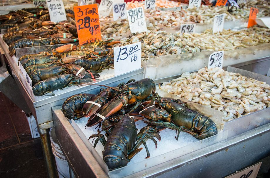 lobster at a seafood market
