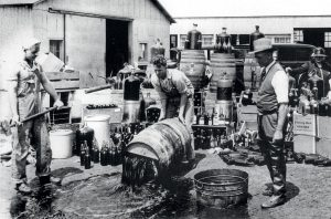 Alcohol supplies being destroyed during the Prohibition period