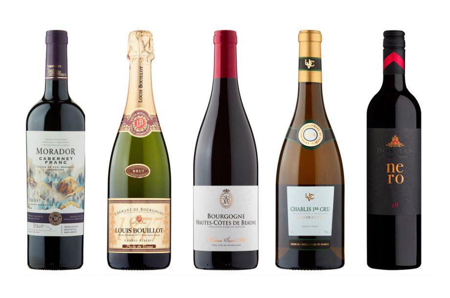 Five wine bottles from Sainsburys