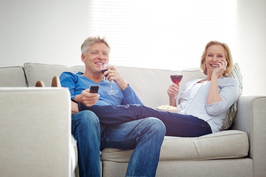 Drinking wine watching TV