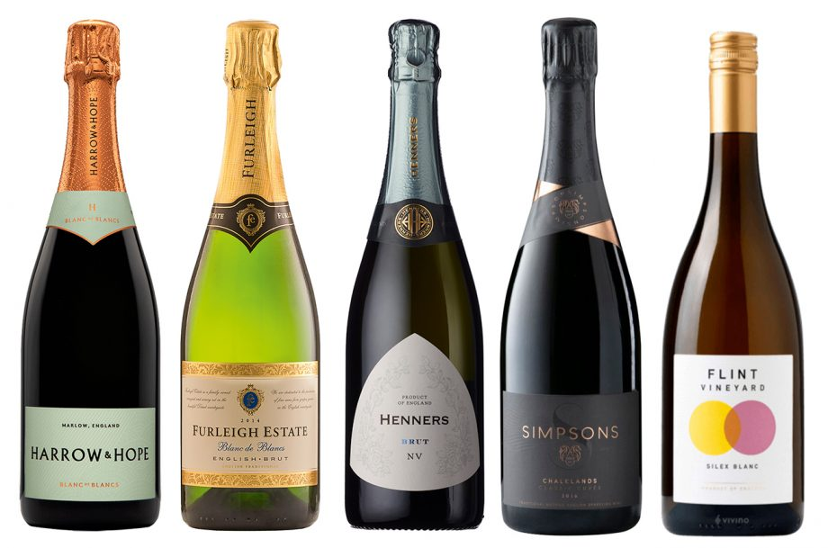 Five bottles of English wines
