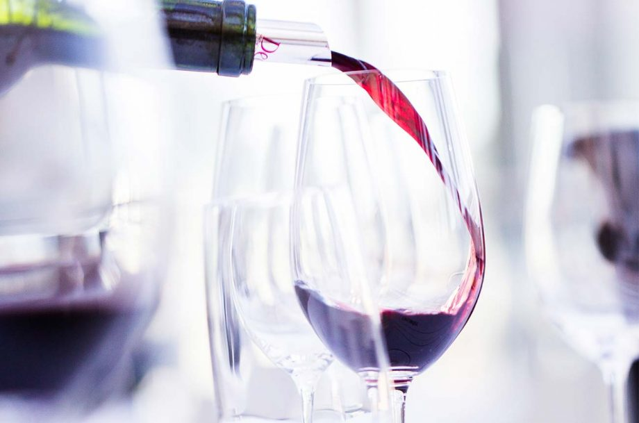 letting wine breathe; wine pouring in glass