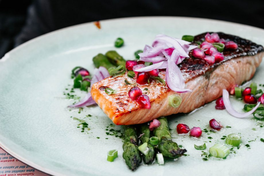 spring ingredients, Salmon and asparagus