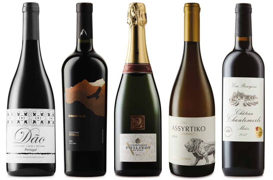 Five bottles of Aldi wines