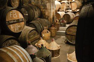 Cognac ageing cellar with barrels