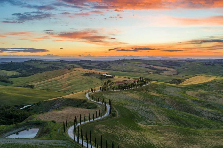 Sunset over the Tuscan landscape