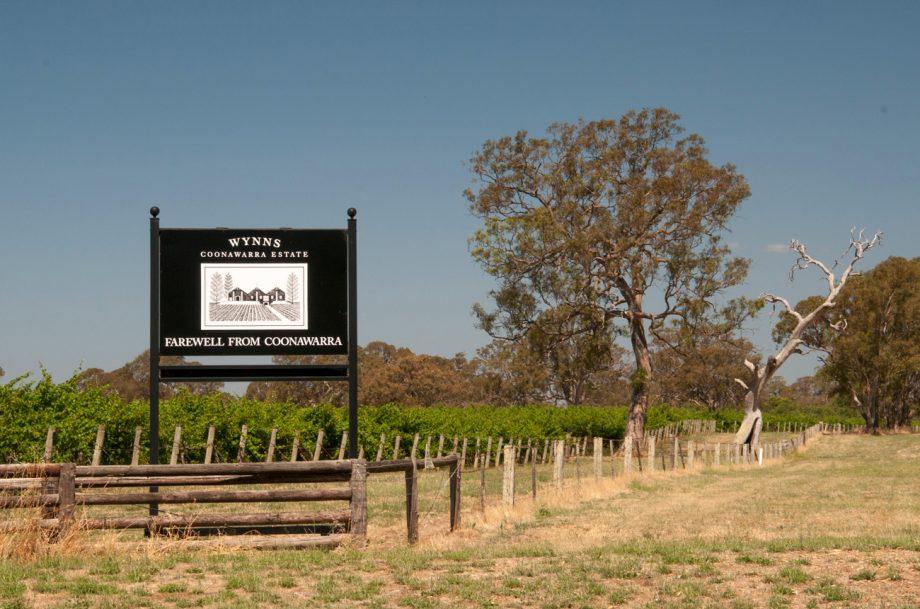 Wynns Coonawarra Estate vineyards sign outside Penola, September releases New World