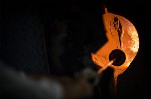 riedel glasses, Riedel decanter in furnace