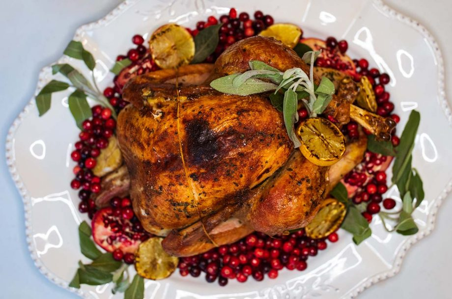 Roast turkey with cranberry and herbs.