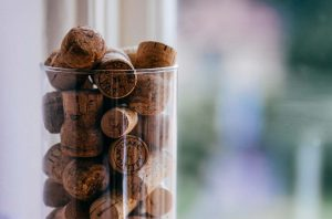 Champagne corks piled up
