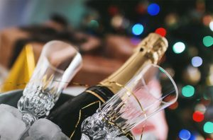 Christmas Champagne deals; Champagne glasses and Christmas tree