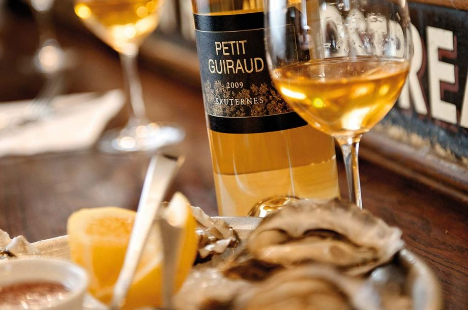 Serve fortified wines, sweet wines; Sauternes and oysters