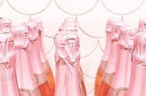 Rows of rose Champagne bottles; Champagne deals