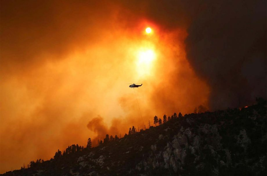 A helicopter tackling the Bobcat Fire near Los Angeles in 2020