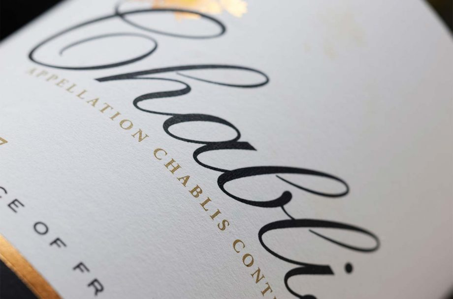 Close up of a Chablis wine label