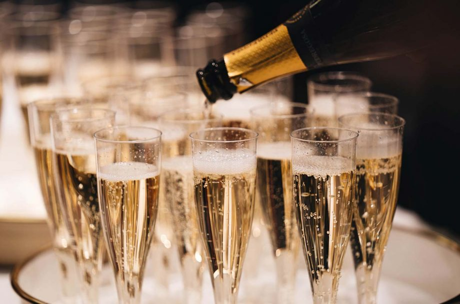 A tray of Champagne flutes