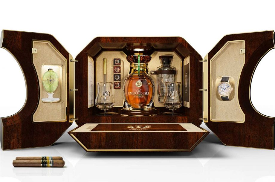 Irish whiskey and Fabergé collaboration: The Emerald Isle Collection case.