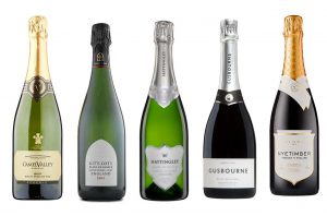 Five bottles of English blanc de blancs sparkling wines
