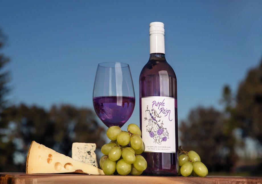 A bottle of 'Purple Reign', a purple wine