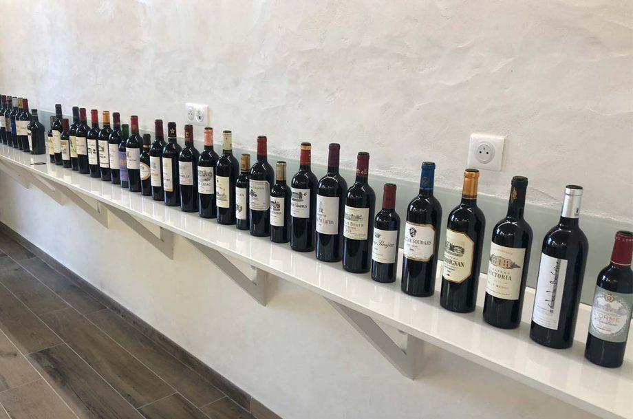 Bottles of wine at a Bordeaux en primeur tasting