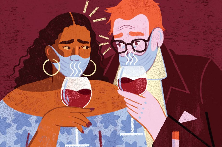 An illustration of two people wearing masks and sniffing red wine