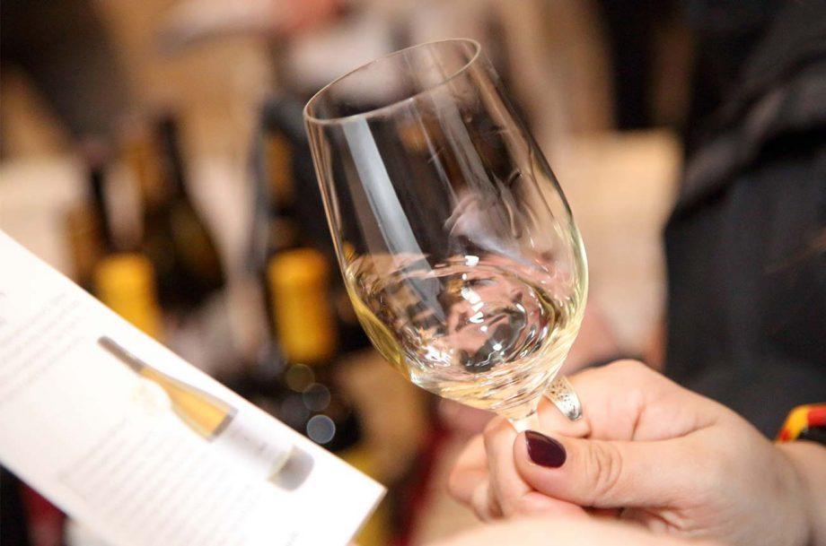 Swirling a glass of wine