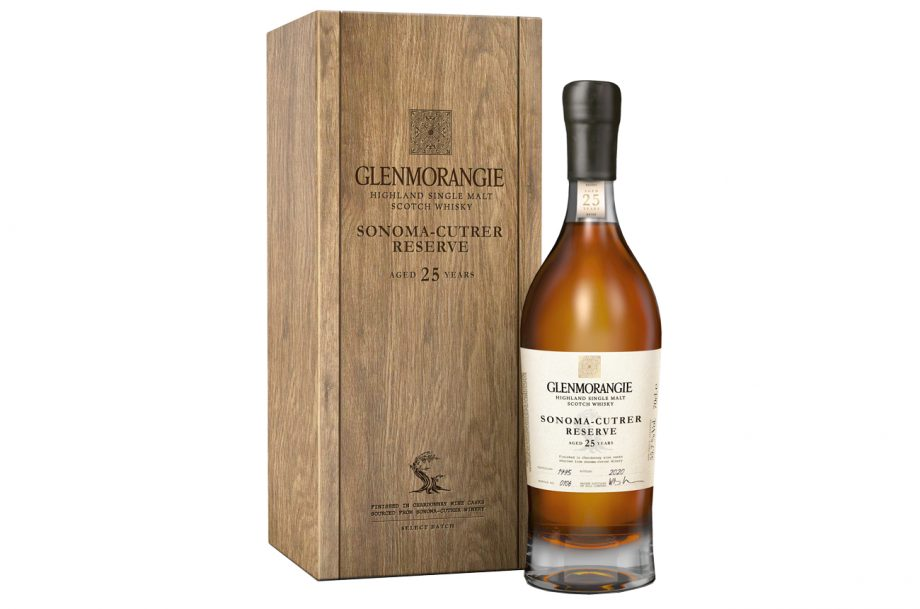 A bottle of Glenmorangie Sonoma-Cutrer Reserve with a presentation wooden box