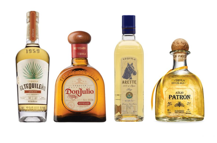 Four tequila bottles: Arette Anejo, Don Julio Reposado, El Tequileno Anejo and Patron Anejo