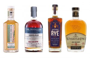 Four bottles of whisky: Aberlour, TOAD Rye, Whistlepig, Method and Madness