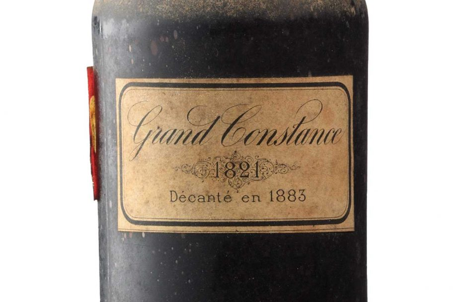 A bottle of the Grand Constance 1821, one of only a handful of remaining bottles of this rare wine.