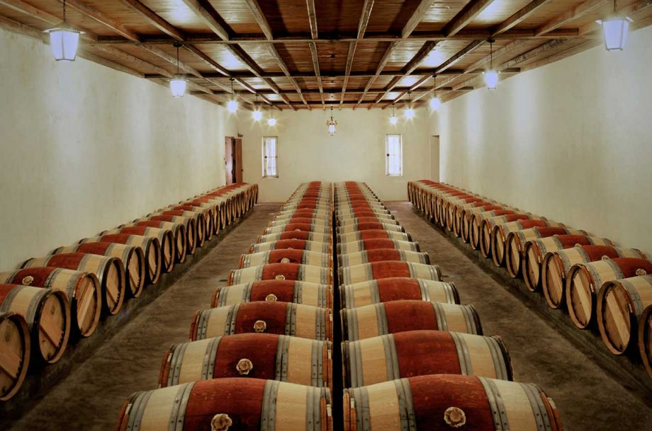 The barrel cellar at Petrus, part of which is currently housing the Bordeaux 2020 en primeur wines...