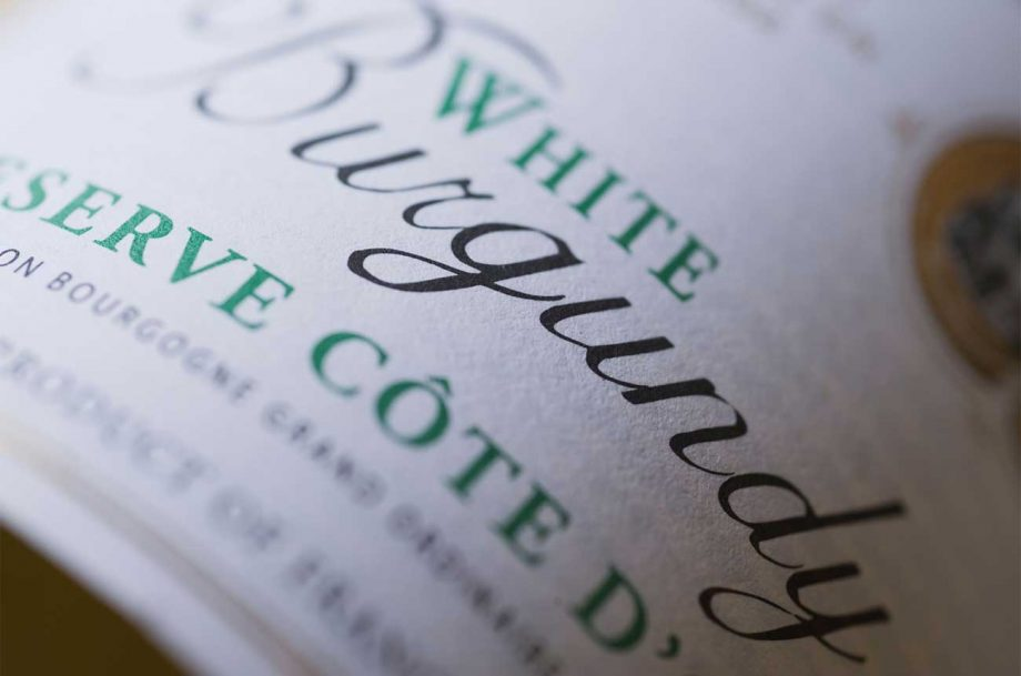 A close up of white Burgundy wine label